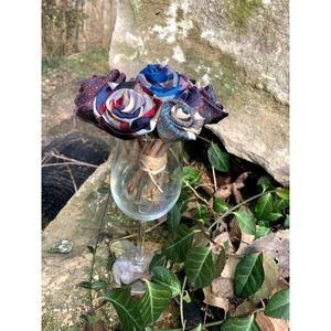 Mothers Day Blue Mini Rose Bouquet upcycled tie